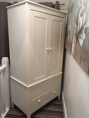 child's wardrobe in white, really solid piece with 2 drawers and 1 hanging rail