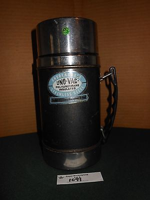 Vintage Uno-vac Wide Mouth Thermos Polyurethane Stainless Steel Unbreakable
