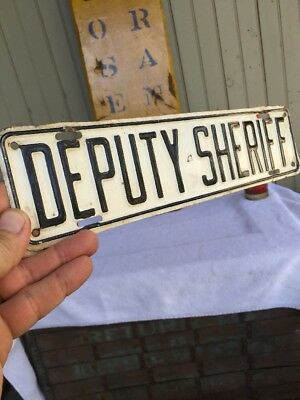 "ORIG ""DEPUTY SHERIFF"" License Plate Topper RARE 1940s"
