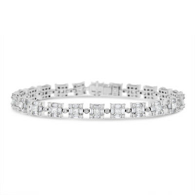6.45 Ct. Natural Superfine Diamond Square Link Design Bracelet In Solid 18k Whit