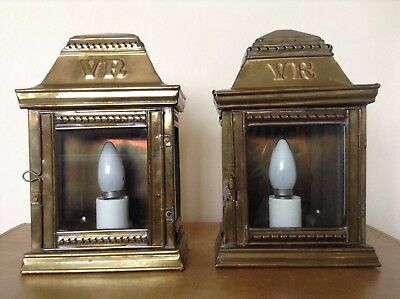 A Pair Of Reclaimed Vr Brass Wall Half Lantern Lamps