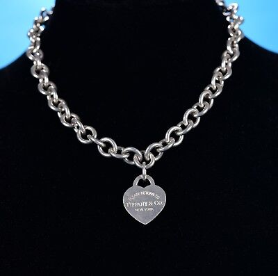 Genuine Tiffany & Co. Sterling Silver 'Return To Tiffany' Heart Chain Necklace