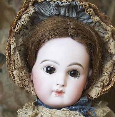 "19"" Antique Early French Incised Depose Bebe doll, Emile Jumeau,original costume"