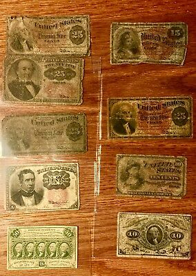 Lot of United States Fractional Notes Currency 1860s-70s