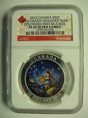 2015 NGC PF69 UHC $25 Star Charts #2-Wounded Bear 1st Releases GITD .9999 silver