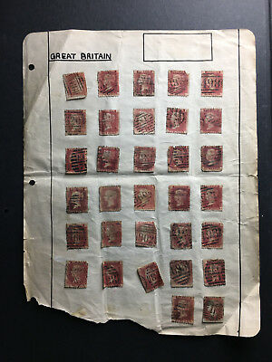 Great Britain One Penny Reds - Sc#33 - Many Plate Numbers And Cancels