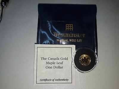 Canada Gold Maple Leaf $1 coin. 1/20oz Gold. 1999. Mint Sealed.