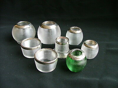 8 Glass and silver antique match strikers - 1901-06