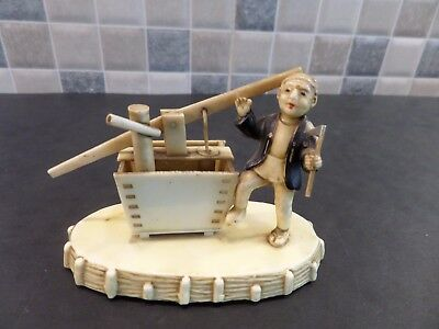 Vintage Japanese Celluloid Figure Of A Man Working A Water Pump With Moving Part