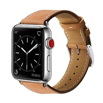 Band for Apple Watch 3 42mm Genuine Leather Replacement Metal Clasp Sport Brown