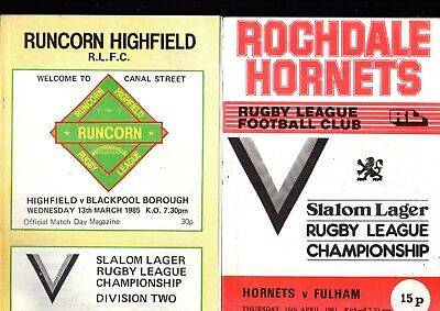 7 Mixed Club Rugby League Programmes Fulham Springfield highfield 81-88