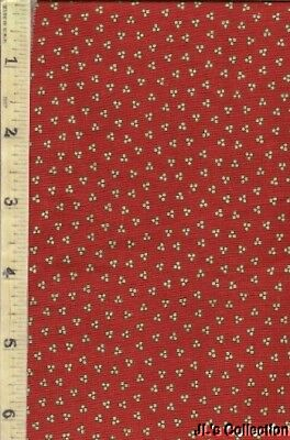 Red Background Mustard Yellow Berries Calico C1840-60 Cotton Yardage