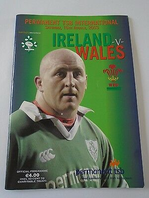 Ireland v Wales 16 Aug 2003 rugby union programme