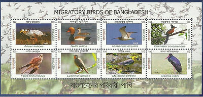 Bangladesh Mnh 2012 Migratory Birds Of Bangladesh Bird Sea Water Plants Animals