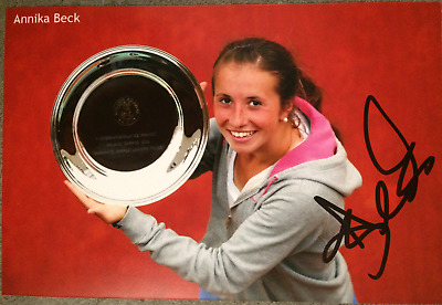"ANNIKA BECK SIGNED AUTOGRAPHED 4""x6"" TENNIS PHOTO"