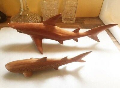 "Two Wood Shark 18"" Sculpture Hand Carved with Real Shark Teeth"