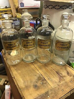 4 Gold Lug Label Under Glass Pharmacy Apothecary Druggist Medicine Bottles
