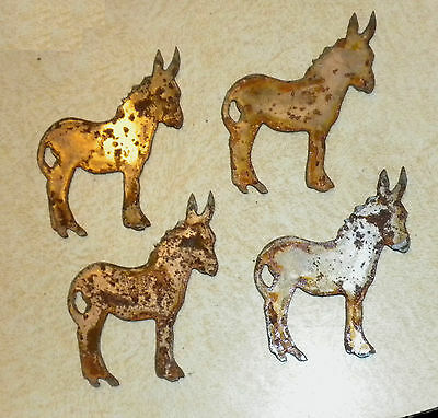 """Lot of 4 Donkey Mule Shapes 3"""" Rusty Metal Vintage Ornament Craft Sign Made USA"""