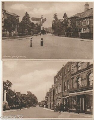 Suffolk Postcards Bungay Flixton Rd & Town Centre War Memorial 2 Unposted Cards