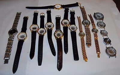 Job lot of 17 leather & metal strap new watches without movements dials hands