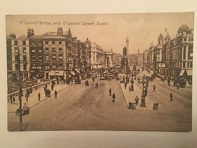 Postcard of O'Connell Bridge and O'Connell Street, Dublin