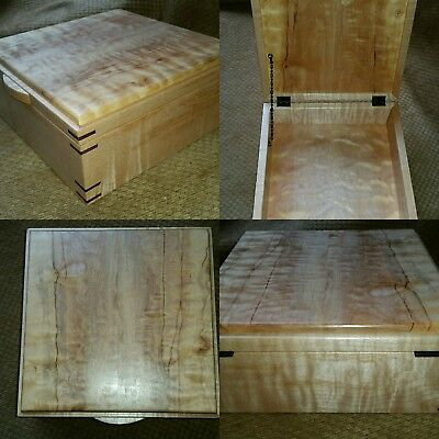 Dovecote Woodworking quilted curly maple walnut wood jewely sewing box figured