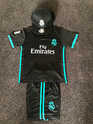 New Kids Soccer Jersey black  #7 Ronaldo Real Madrid Set Top+Short