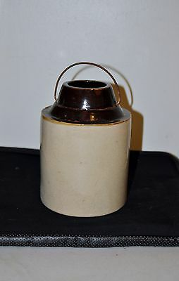Vintage Antique Stoneware Jar With Handle Unmarked