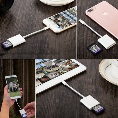 SD Card Reader Lightning Adapter Trail Game Camera Viewer iphone iOS USB 2.0 NEW