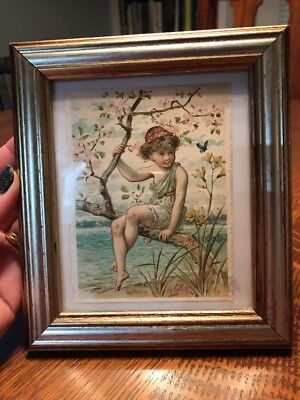 Victorian Style Picture On Silk Child Cherub Framed