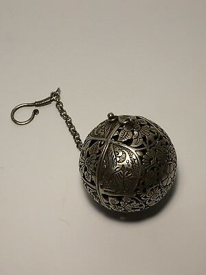 Chinese Silver Reticulated Censer Incense Burner Ball