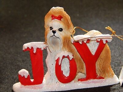 SHIH TZU DOG PUP CHRISTMAS SANTA JOY DOG ORNAMENT NEW Kurt Alder
