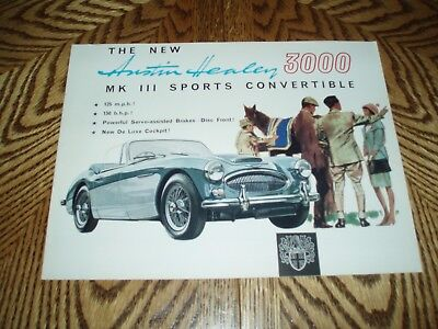 AUSTIN HEALY 3000 III SPORTS CONVERTIBLE Vintage 8 Page Sales Brochure REAL NICE