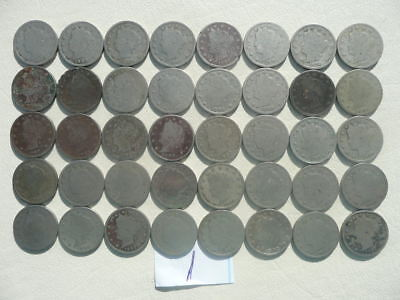 Lot of 40 V Liberty Nickels Coins - one roll