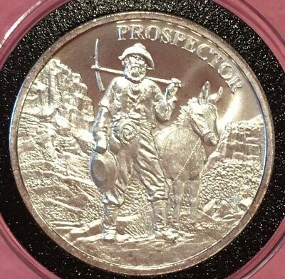Prospector & Donkey 1 Troy Oz .999 Fine Pure Silver Rare Round Collectible Coin