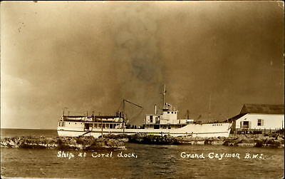 Ship at coral dock ~ Grand Cayman ~ BWI British West Indies ~ Caribbean ~ RPPC