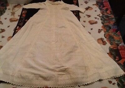 Vtg Victorian Long Ivory White Cotton Christening Gown W/ Lace