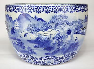 Japanese Blue & White Porcelain Fishbowl Planter With Relief Details