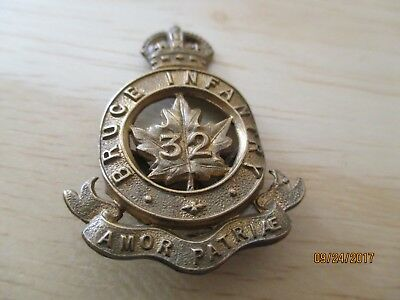 Ww1 Canadian A Collar Badge For The 32Nd Bruce Infantry