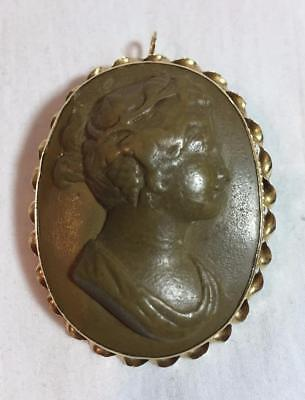 Antique Carved Lava Cameo Brooch Pendant