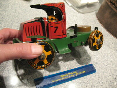 Vintage ORIGINAL Marx #7 truck cab wind up tin with trailer