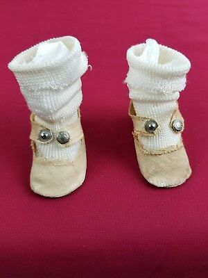 Vintage Shirley Temple Composition Doll Oil Cloth Shoes w/ Rayon Socks, NICE!!