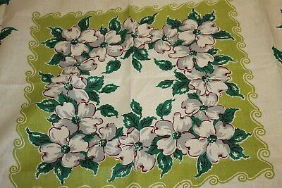 Vintage  Beautiful Floral Irish Linen Tablecloth Preowned But Nwt's 51X51