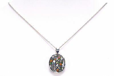 "Ann King 1.40 Ct tw Muti Color Gemstone Pendant & 18"" Sterling Silver chain"