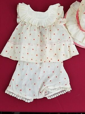 Vintage Shirley Temple Composition Doll Dress Set with Matching Hat Slip No Tag