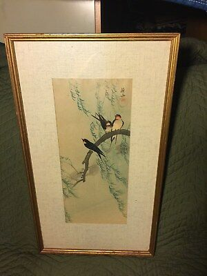 Antique Framed Under Glass Signed Japanese Woodblock Wood Block Woodcut Print