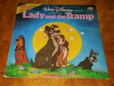 1990 Walt Disney Lady and the Tramp Book and Vinyl LP Record 3917