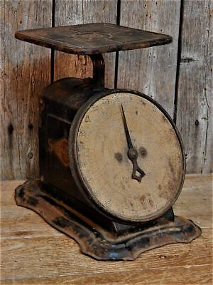 Antique Primitive 1904 Old BLACK Rustic Farmhouse Kitchen Scale WORKS!