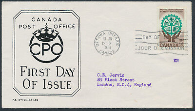 1961 #395 5c Resources FDC, CPO Presentation Cachet with Letter, to England