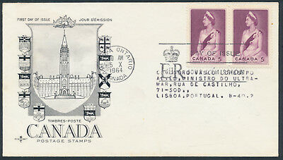 1964 #433 Royal Visit FDC, CPO Presentation Cachet with Letter, to Portugal